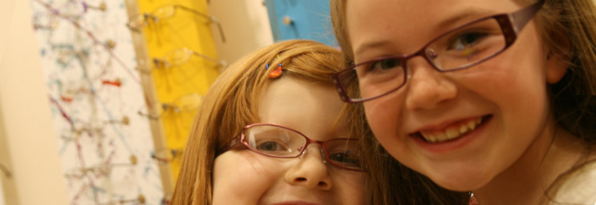 Hayes Opticians - Children wearing glasses